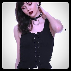 Hot Topic Smocked Lace Up Tank Top sz. S